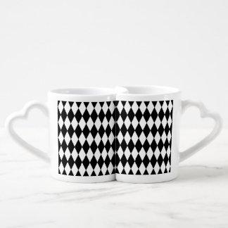 Black White Harlequin Pattern Coffee Mug Set