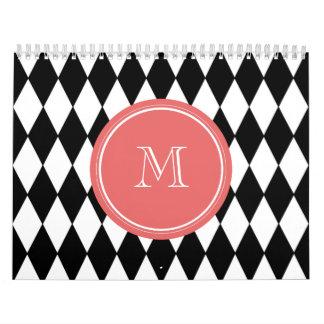 Black White Harlequin Pattern, Coral Monogram Wall Calendars