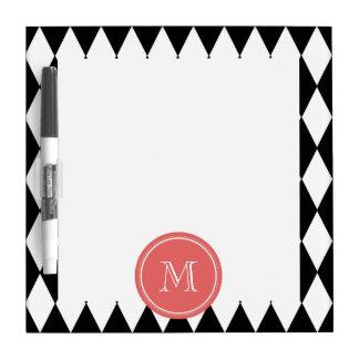 Black White Harlequin Pattern Coral Monogram Dry Erase Whiteboards