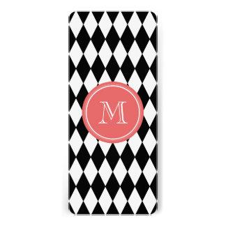 Black White Harlequin Pattern, Coral Monogram Personalized Invites