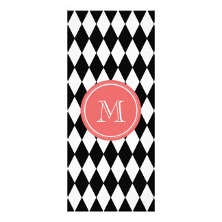 Black White Harlequin Pattern, Coral Monogram Invite