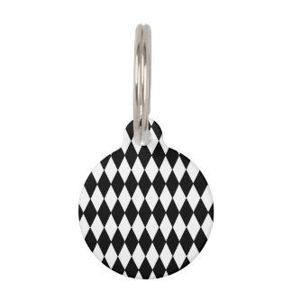 Black White Harlequin Pattern Pet ID Tag
