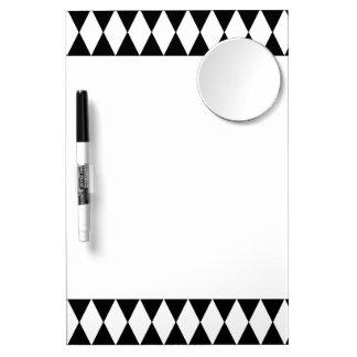 Black White Harlequin Pattern Dry Erase Board With Mirror