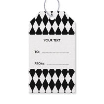 Black White Harlequin Pattern Gift Tags