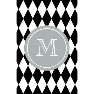 Black White Harlequin Pattern Gray Monogram Calendars