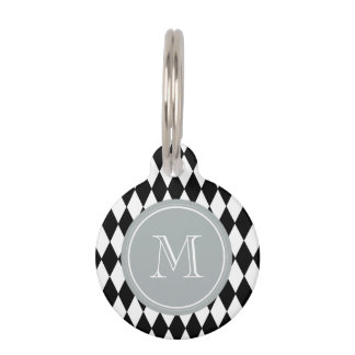 Black White Harlequin Pattern, Gray Monogram Pet Nametag