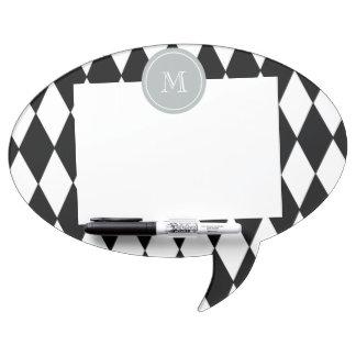 Black White Harlequin Pattern Gray Monogram Dry Erase Whiteboard
