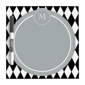 Black White Harlequin Pattern Gray Monogram Dry Erase Whiteboards