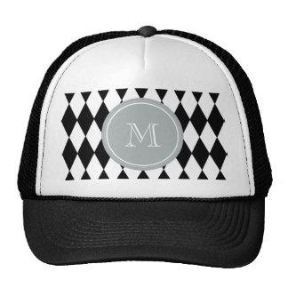 Black White Harlequin Pattern, Gray Monogram Trucker Hat