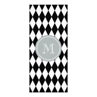 Black White Harlequin Pattern, Gray Monogram Announcement