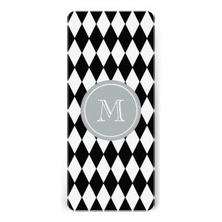 Black White Harlequin Pattern, Gray Monogram Personalized Invitations
