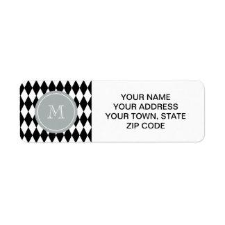 Black White Harlequin Pattern, Gray Monogram Label