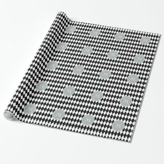Black White Harlequin Pattern, Gray Monogram Wrapping Paper
