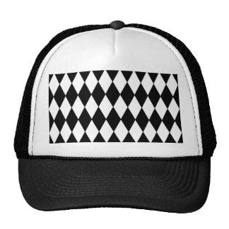 Black White Harlequin Pattern Trucker Hat