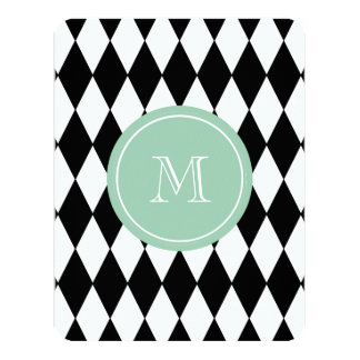 Black White Harlequin Pattern, Mint Green Monogram Card