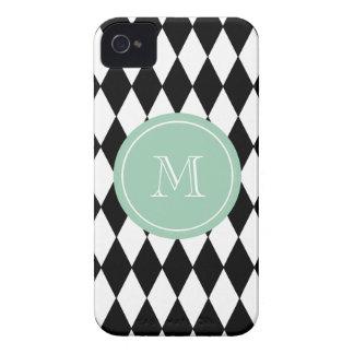 Black White Harlequin Pattern, Mint Green Monogram iPhone 4 Cases