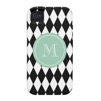Black White Harlequin Pattern, Mint Green Monogram Vibe iPhone 4 Case