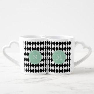 Black White Harlequin Pattern, Mint Green Monogram Coffee Mug Set