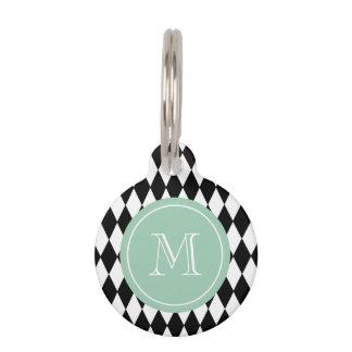 Black White Harlequin Pattern, Mint Green Monogram Pet Tags