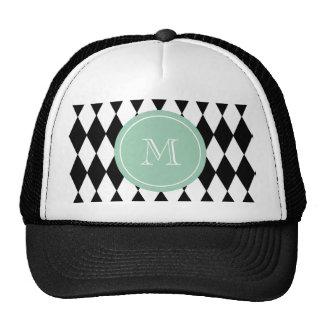 Black White Harlequin Pattern, Mint Green Monogram Trucker Hat