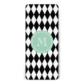 Black White Harlequin Pattern, Mint Green Monogram Custom Invitations