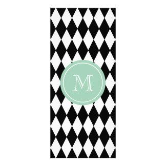 Black White Harlequin Pattern, Mint Green Monogram Custom Invites