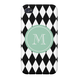 Black White Harlequin Pattern, Mint Green Monogram Case For iPhone 4