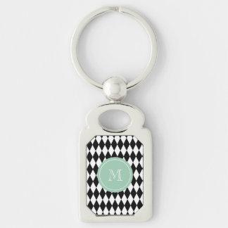 Black White Harlequin Pattern, Mint Green Monogram Keychains