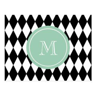 Black White Harlequin Pattern, Mint Green Monogram Postcard