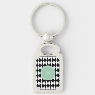 Black White Harlequin Pattern, Mint Green Monogram Silver-Colored Rectangular Metal Keychain