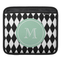 Black White Harlequin Pattern, Mint Green Monogram Sleeve For iPads