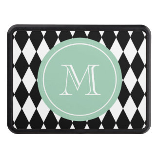 Black White Harlequin Pattern, Mint Green Monogram Tow Hitch Cover