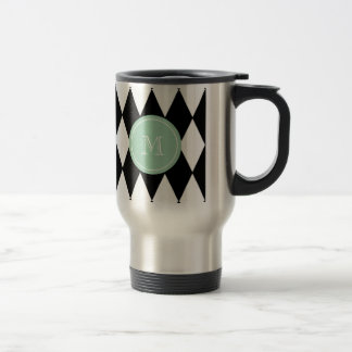 Black White Harlequin Pattern, Mint Green Monogram Travel Mug