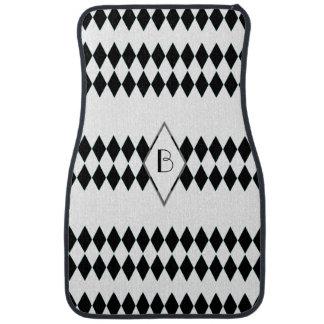Black White Harlequin Pattern Monogram Car Floor Mat