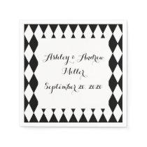 Black White Harlequin Pattern Paper Napkin