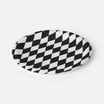 Black White Harlequin Pattern Paper Plate
