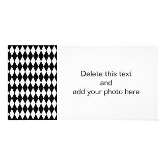 Black White Harlequin Pattern Photo Card