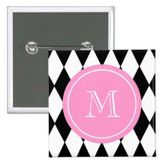 Black White Harlequin Pattern, Pink Monogram 2 Inch Square Button