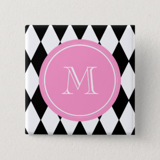 Black White Harlequin Pattern, Pink Monogram Button