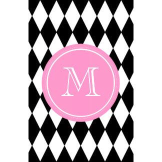 Black White Harlequin Pattern Pink Monogram Wall Calendars