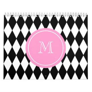 Black White Harlequin Pattern, Pink Monogram Wall Calendars
