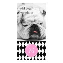Black White Harlequin Pattern, Pink Monogram Card
