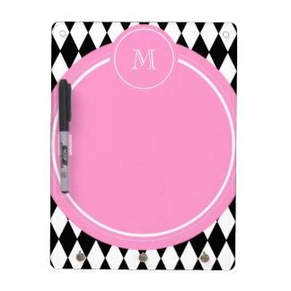 Black White Harlequin Pattern Pink Monogram Dry Erase Board