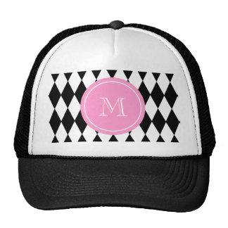 Black White Harlequin Pattern, Pink Monogram Trucker Hat