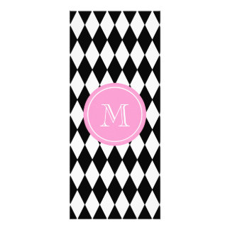 Black White Harlequin Pattern, Pink Monogram Personalized Announcement