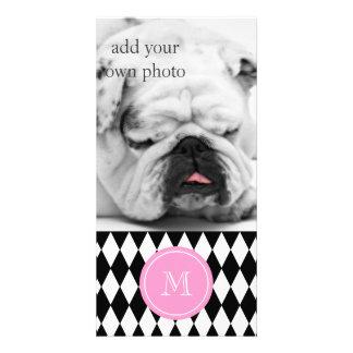 Black White Harlequin Pattern, Pink Monogram Photo Card