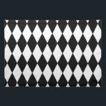 "Black White Harlequin Pattern Placemat<br><div class=""desc"">Trendy,  mod,  black and white harlequin diamond pattern. GraphicsByMimi&#169; Personalize this fun,  bold,  modern yet retro design. Use the template field or use the &quot;customize it&quot; option for a full edit menu. Classic,  traditional style as a renewed fashion trend.</div>"