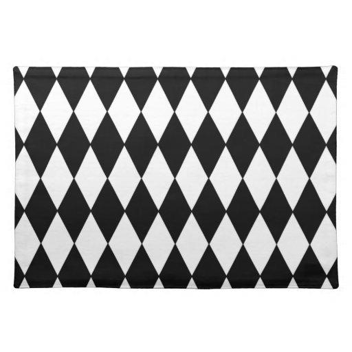black white harlequin pattern placemat zazzle. Black Bedroom Furniture Sets. Home Design Ideas