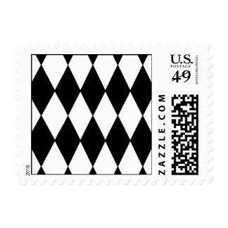 Black White Harlequin Pattern Stamps