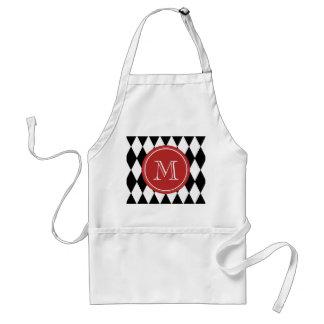 Black White Harlequin Pattern, Red Monogram Aprons